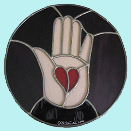 red heart in palm of hand logo